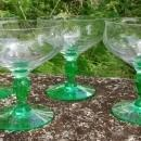 Tiffin Festoon Optic Green Champagne/Low Sherbet Set/4 #14199 Bicolor 1920s-30s