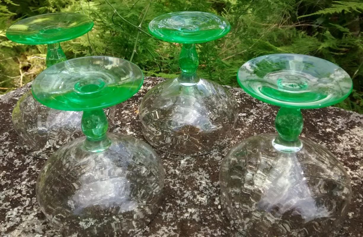 Vintage Tiffin Festoon Optic Green Champagne/Low Sherbet Set/4 #14199 Bicolor 1920s-30s