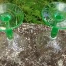 Tiffin Festoon Optic Green Water Goblet Pair #14199 Bicolor 1920s-30s