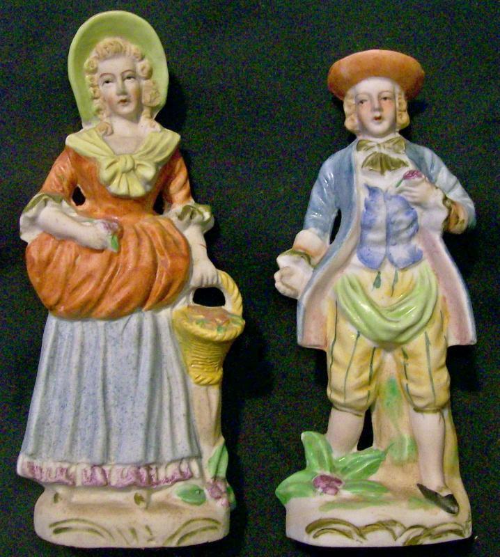 Vintage Occupied Japan Hadson Bisque Figurine Pair Man & Woman 6.25