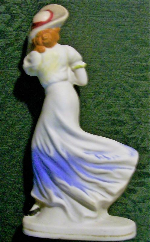 Bisque Ceramic Windswept Lady Figurine Japan 1930s-40s 6.75