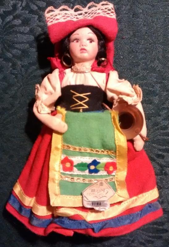 Magis Italy Souvenir Doll 1950s Ethnic Costume Roma 7.5