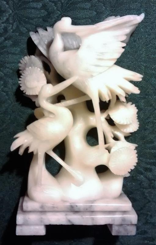 Vintage Soapstone Sculpture Asian Cranes/Blossoms 7.25