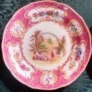 Spode/Copeland #9662 Spode's Queen Mary Saucer Pair Pk/Yel 1940-56