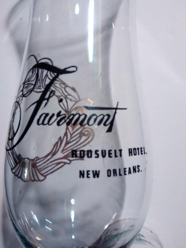 Vintage Fairmont Roosevelt Hotel Hurricane Bar Glass New Orleans 1970s