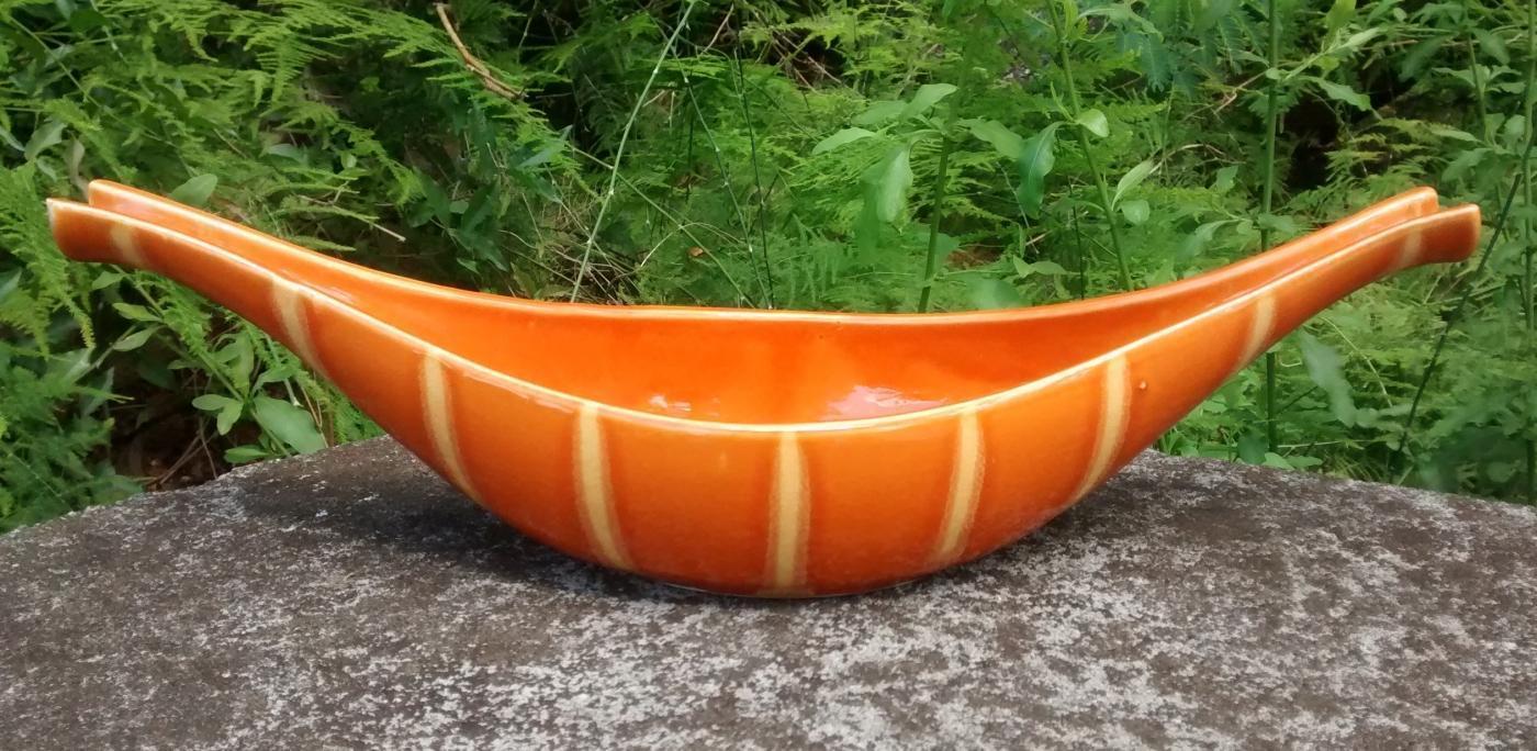 Vintage Hull Continental Flower Bowl #C-51 Persimmon Orange