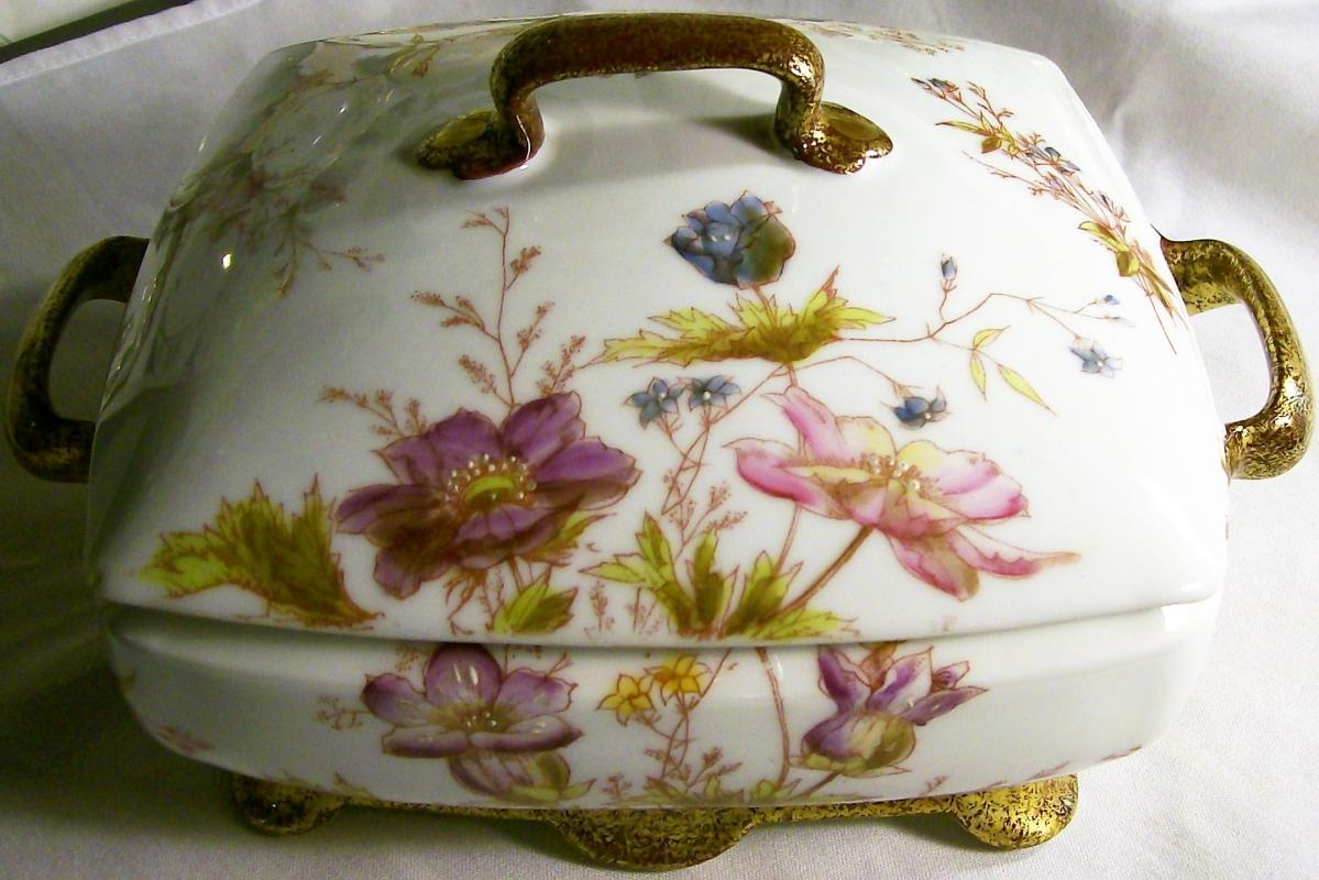Antique Gutherz Limoges Covered Bowl w/Lid 1880s-90s 8