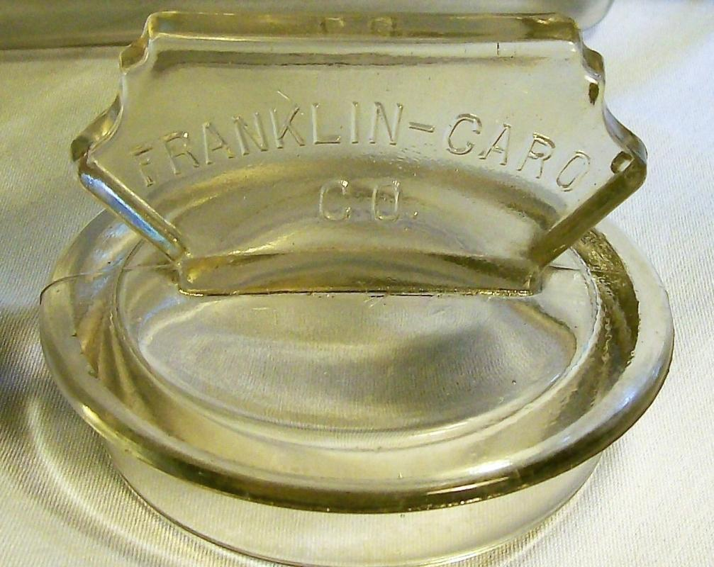 Antique Franklin Caro Advertising Canister Clear Glass 11