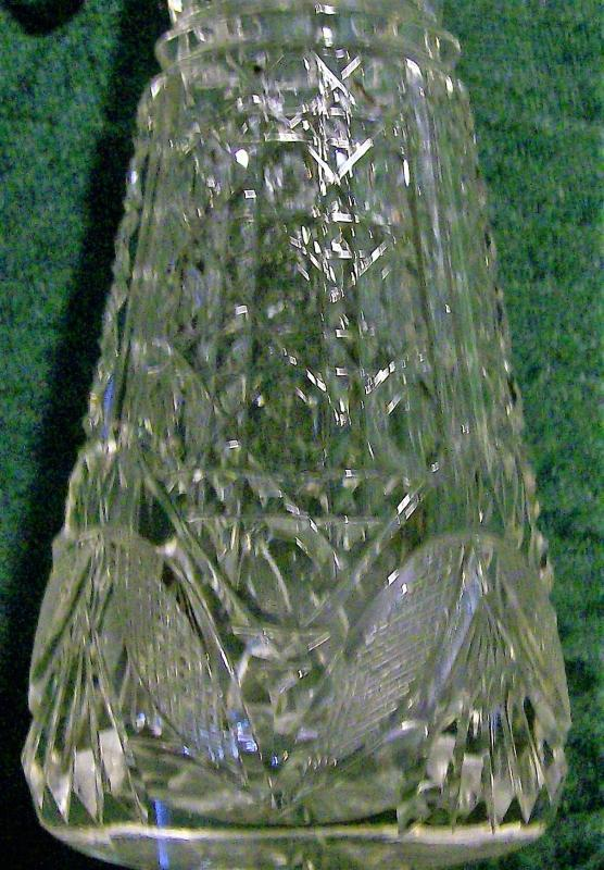 Antique Brilliant Cut Glass Cologne Bottle with Stopper Clear 9