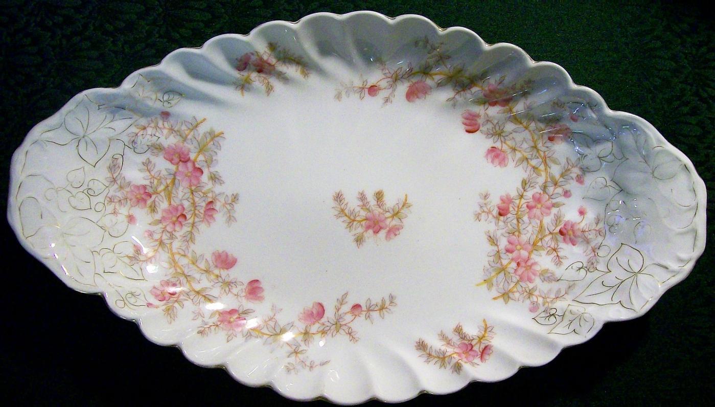 Antique Carlsbad Austrian Console Bowl 1890's Pink Floral 16