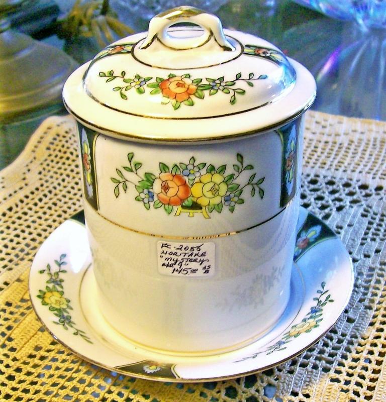 Vintage Noritake Condensed Milk Jar w/Lid & Liner