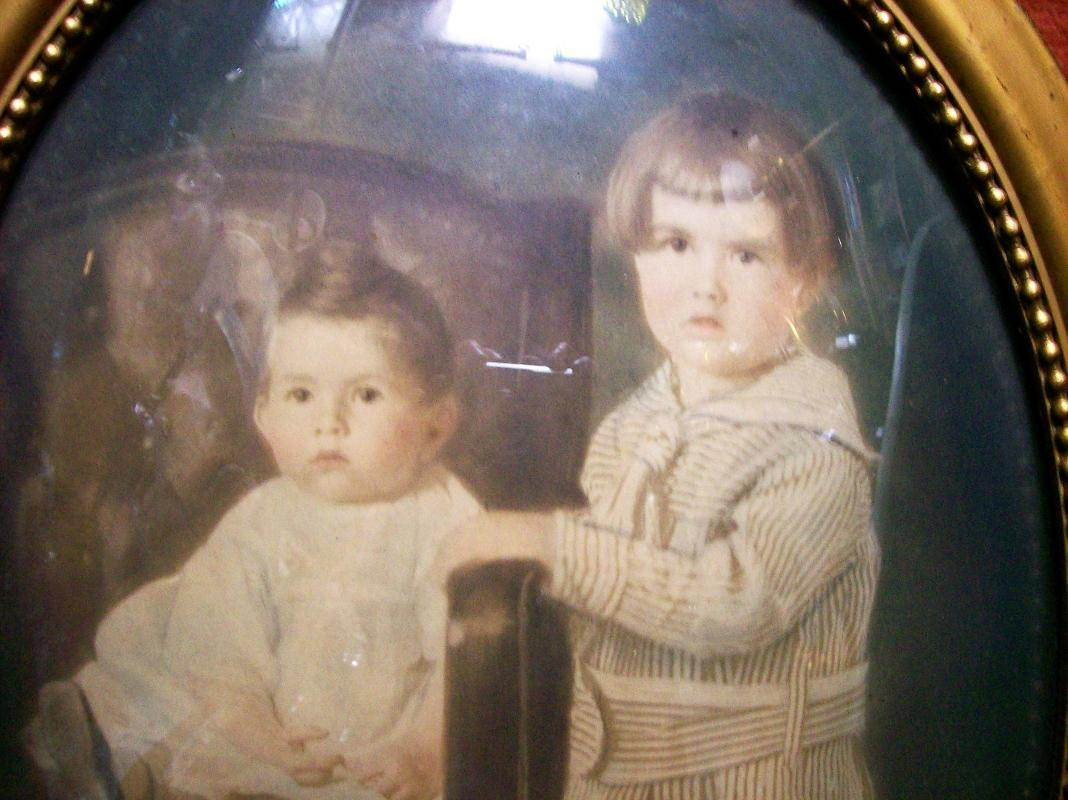 Antique Convex Glass Picture Frame Oval Photo of Children