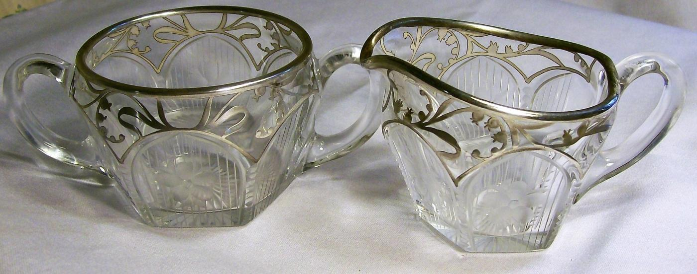 Antique Westmoreland Lily-of-the-Valley Cream & Sugar Engraved Glass Silver Deposit