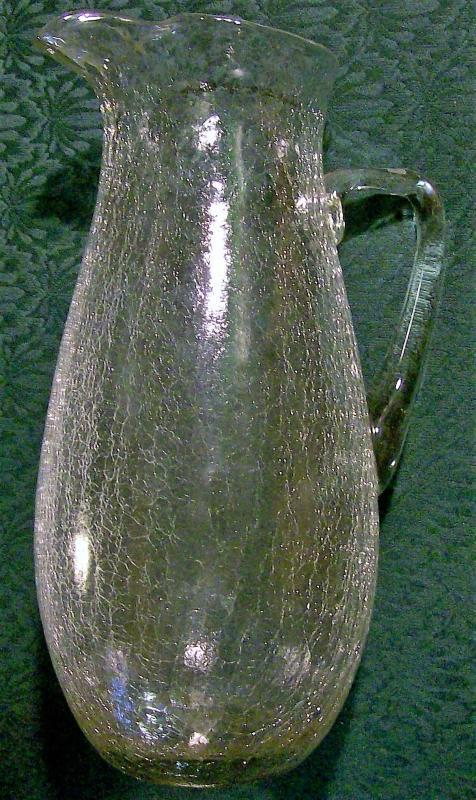 Vintage Clear Crackle Glass Pitcher MCM 12.25