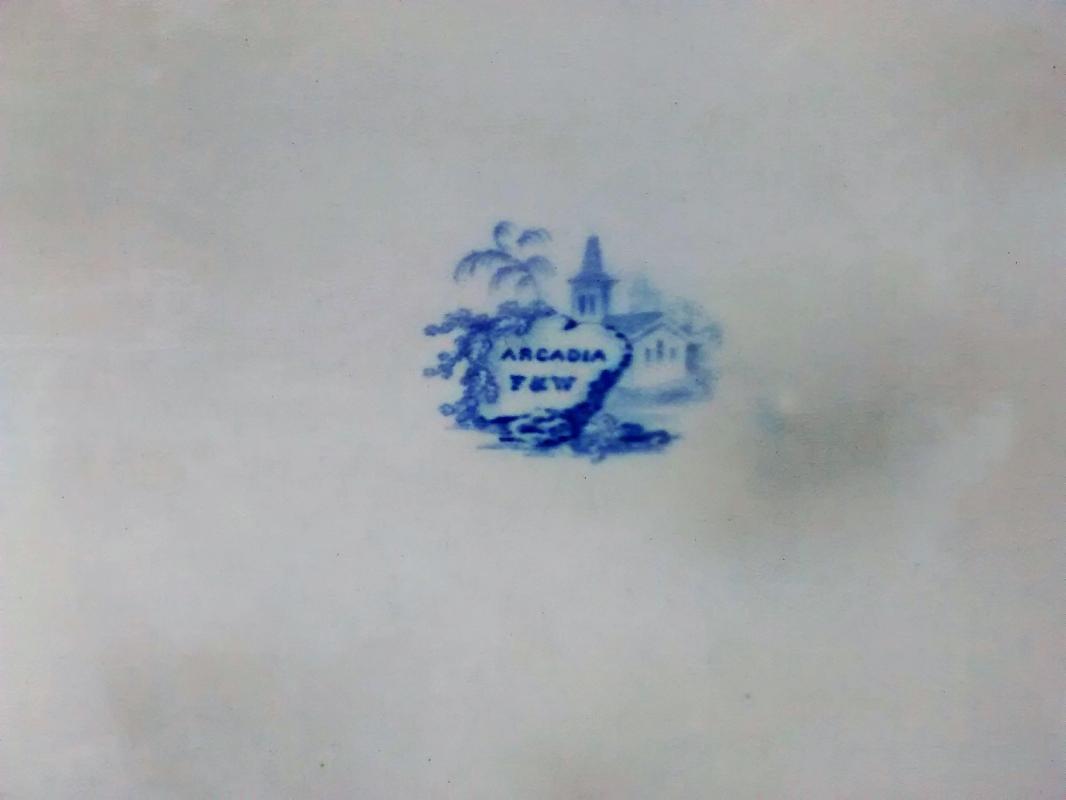 Antique Arcadia Transferware Platter Blue/White 18