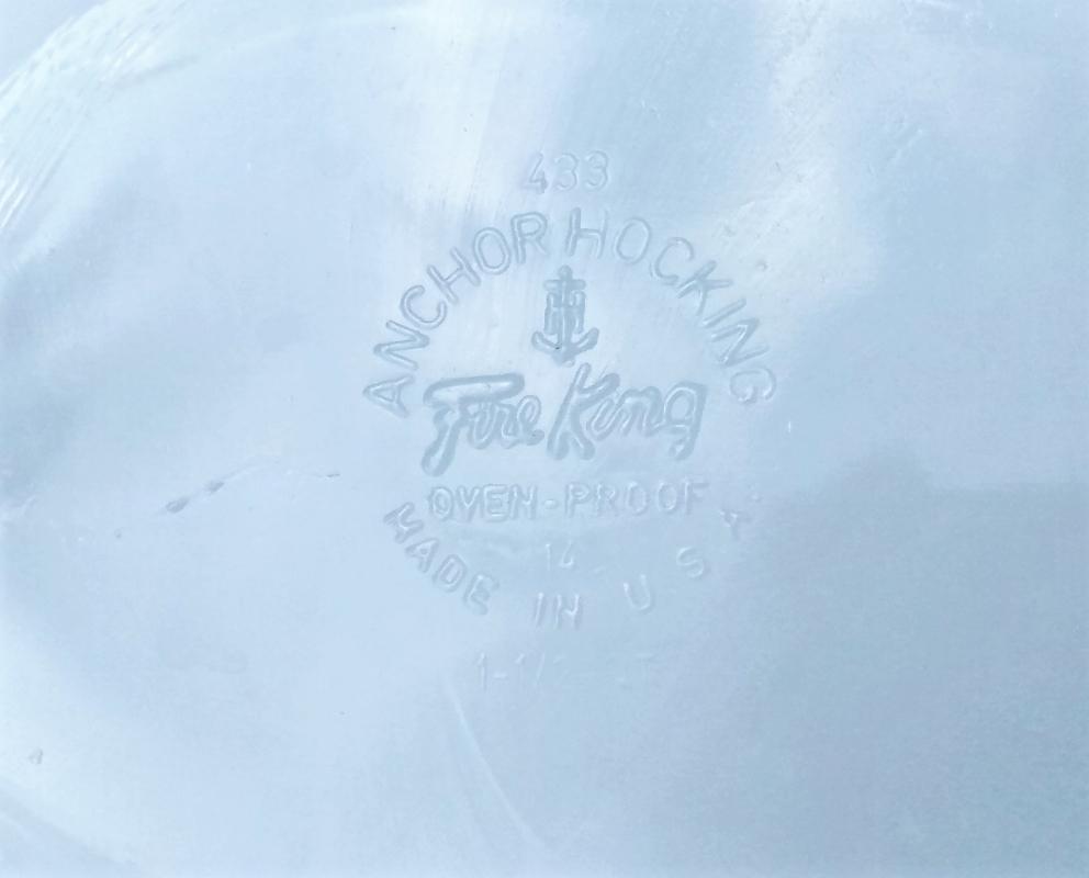 Vintage Fire-King Gingham Floral Casserole w/Flat Lid 1.5 Quart