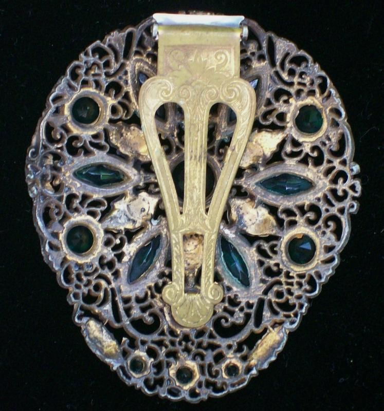 Vintage Czech Dress Clip Filigree Brass w/ Green Stones