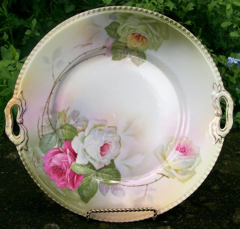 Antique Schwarzburg / Rudolstadt Cake Plate with Roses Signed Tally RSC68