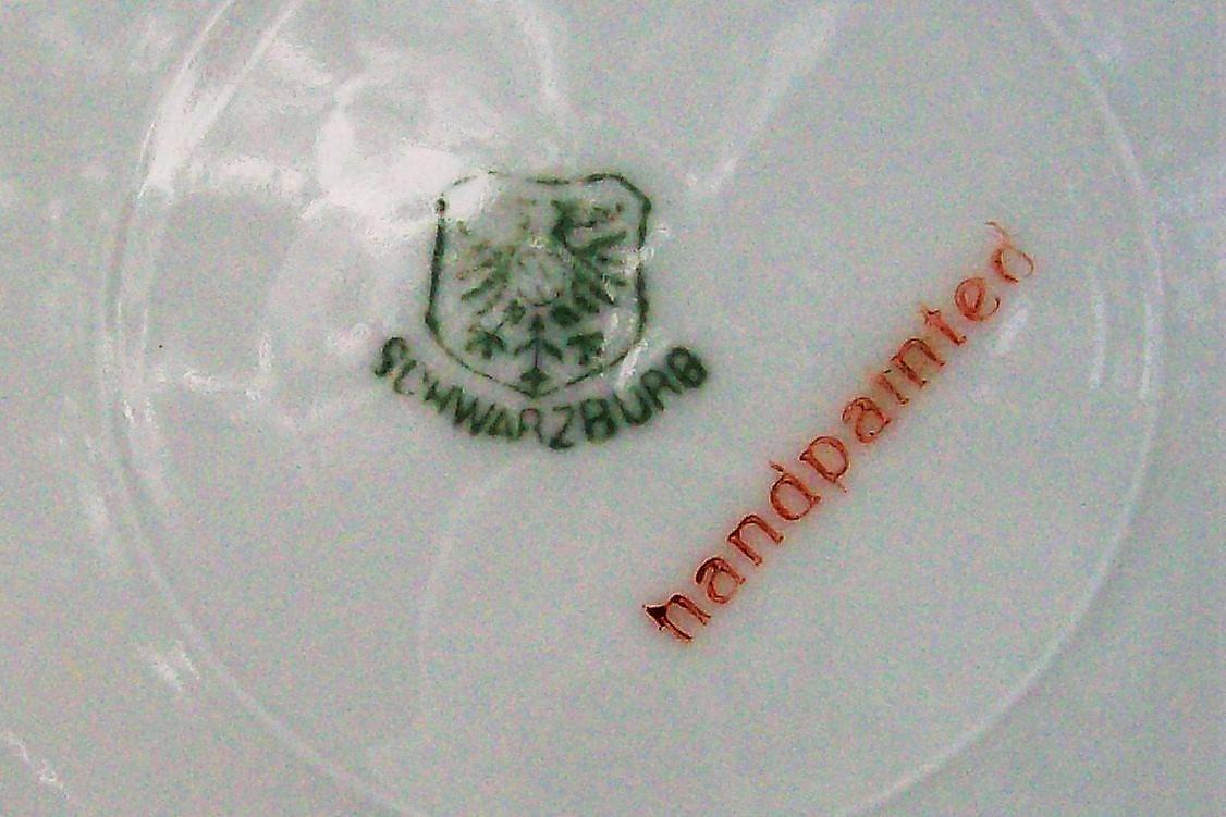 Antique Schwarzburg / Rudolstadt Cake Plate with Roses Signed Tally RSC68