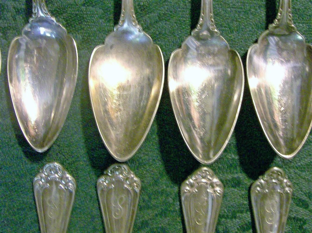 Antique Wallace Astoria Silver-Plate Orange/Citrus Spoon Set/10 Ca. 1898 Monogram S