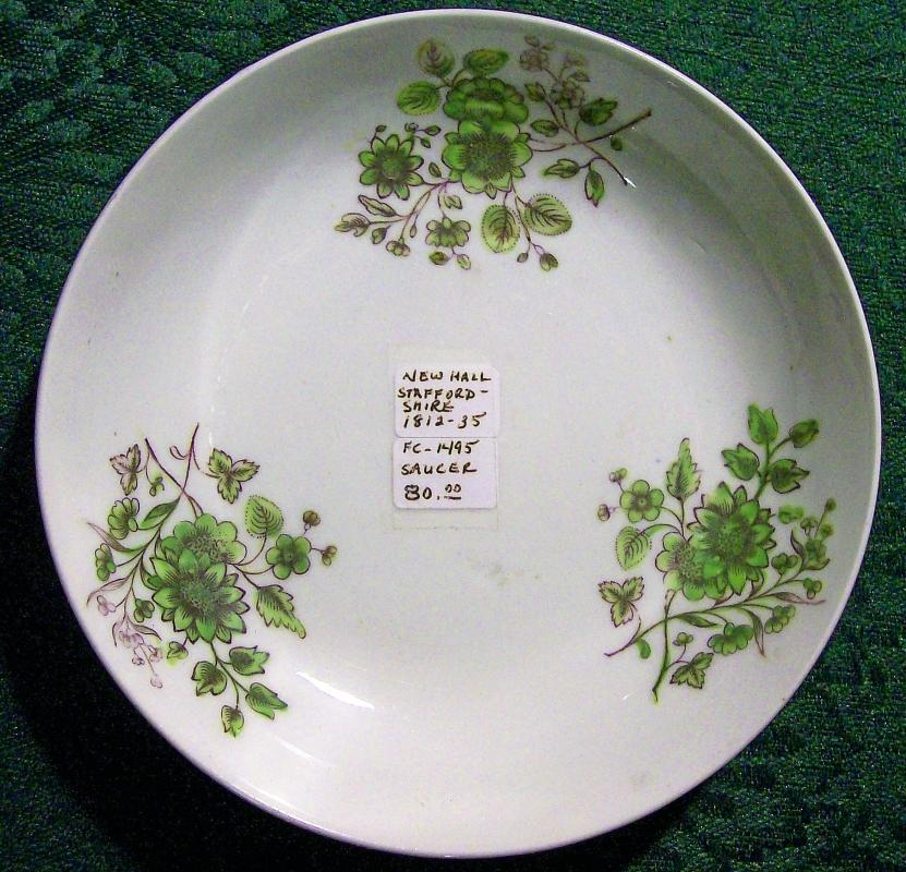 Antique New Hall StaffordshireDish Early 1800s Green/Black Floral 5.5