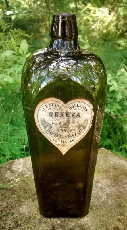 Antique De Kuyper Geneva Gin Bottle Ca. 1880 Dk Olive Green BIMAL