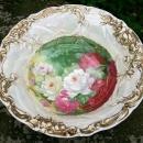 Antique Art Nouveau Porcelain Bowl with Roses Signed T. Duval 10