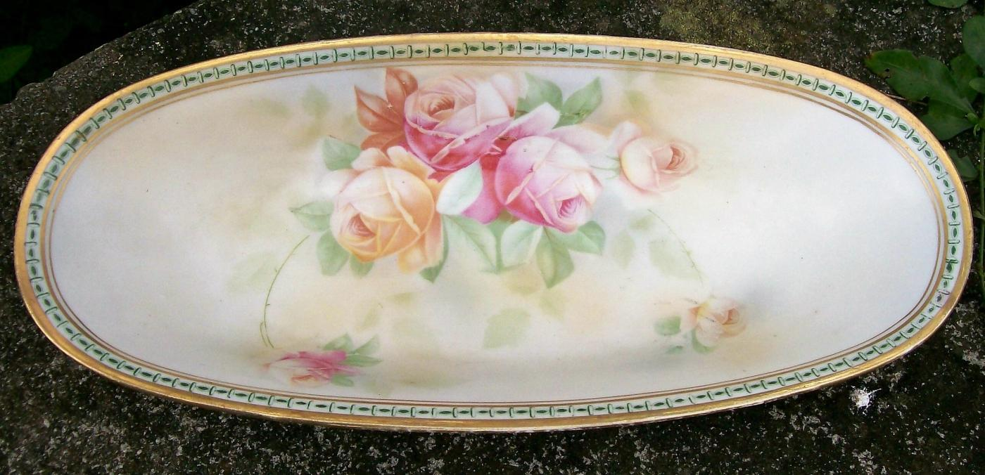 Antique Bavarian Johann Seltmann Celery Dish 1900-10 Roses