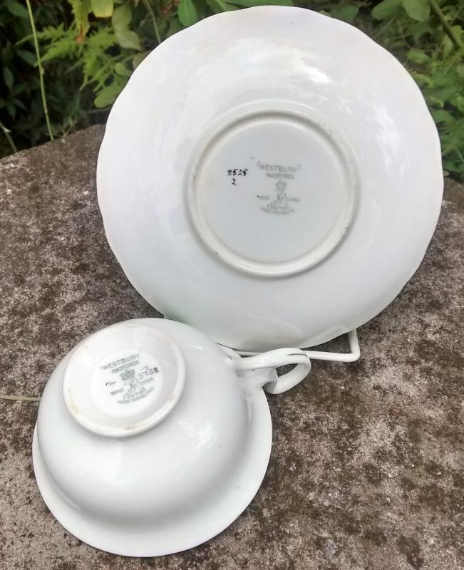 Vintage Westbury Cup & Saucer Morning Glories #8525