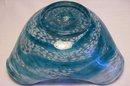 Fifties Modern Italian Glass Tri-Corn Dish: Blue & White