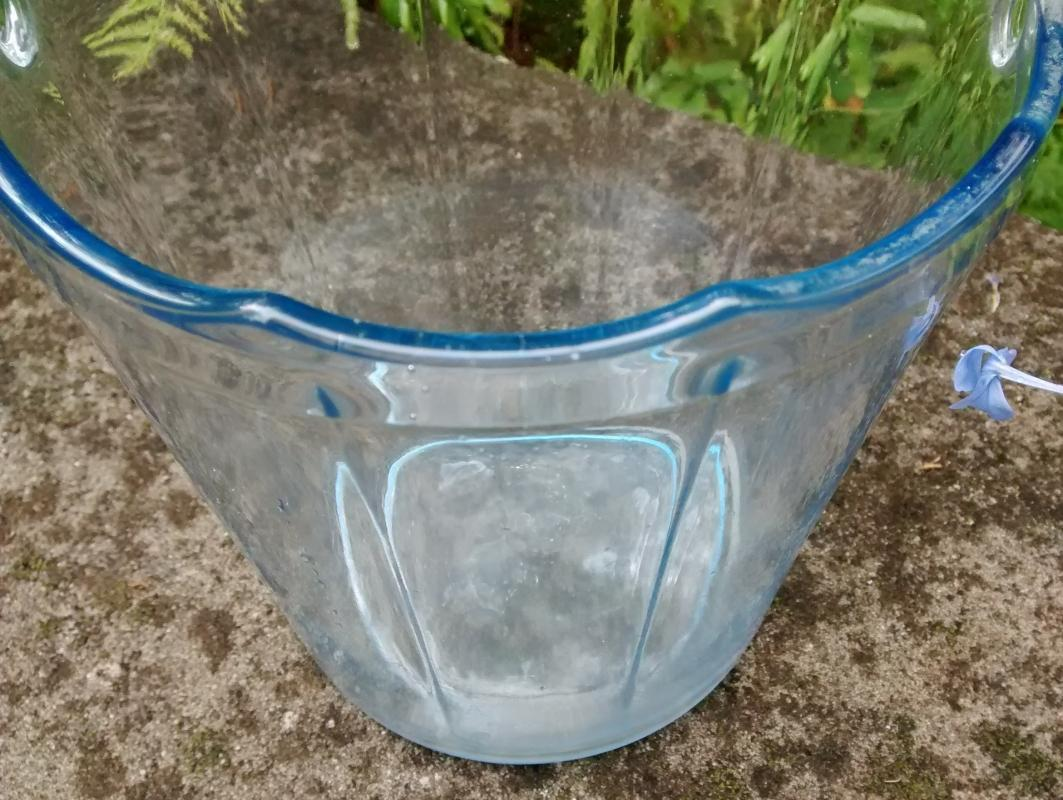 Vintage Cambridge Decagon Ice Bucket Moonlight Blue 1930s