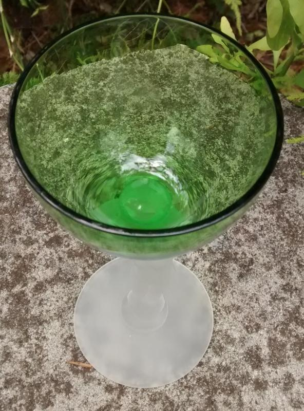 Vintage Cambridge Statuesque Nude Cocktail Glass Green/Frosted Stem