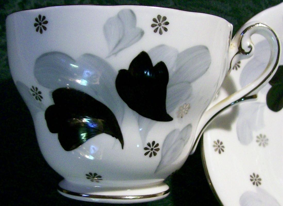 Vintage Royal Standard Black Magic Bone China Cup & Saucer 50s-60s Blk/Gray/Wht