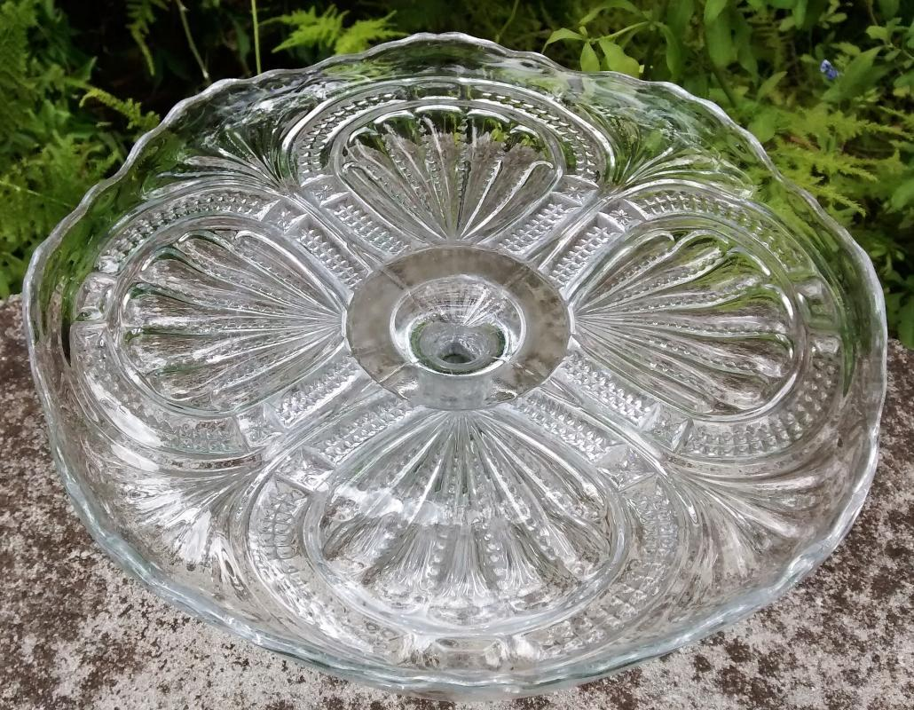Antique Admiral/ Ribbed Ellipse Higbee Cake Stand EAPG 1905