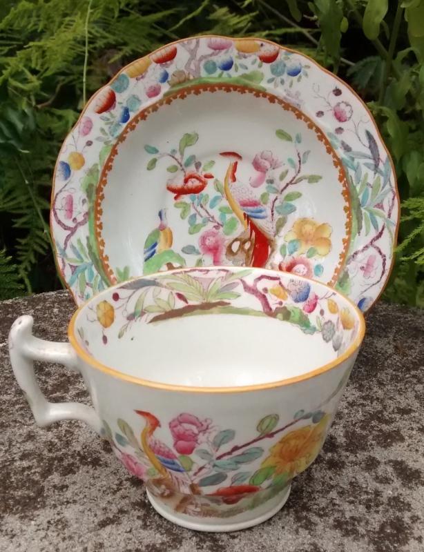 Antique Mason's Patent Ironstone Cup & Saucer MAS34 Birds/Flowers Ca. 1820