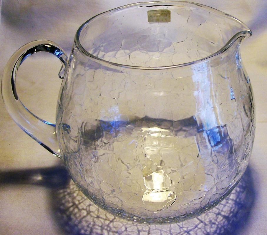 Vintage Mid-Century Crackle Glass Pitcher Clear 6.5