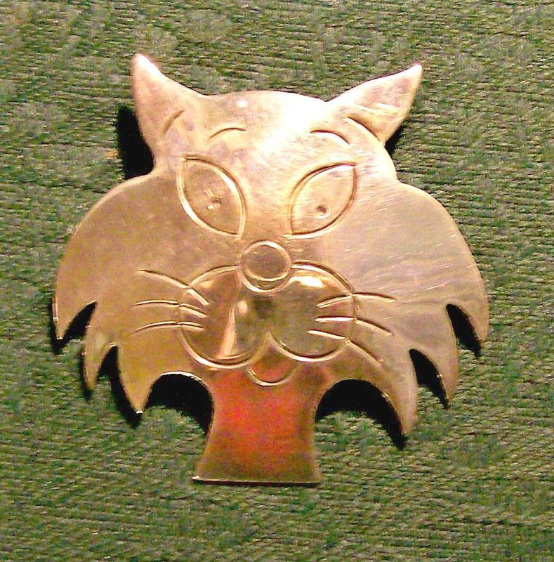 Vintage Taxco Mexican Silver Cat Pendant/Brooch Comic/Cartoon