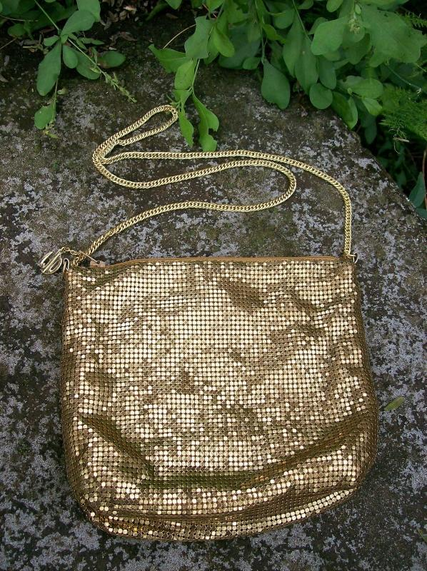 Vintage Whiting & Davis Gold Mesh Shoulder Bag with Chain Circa 1950's