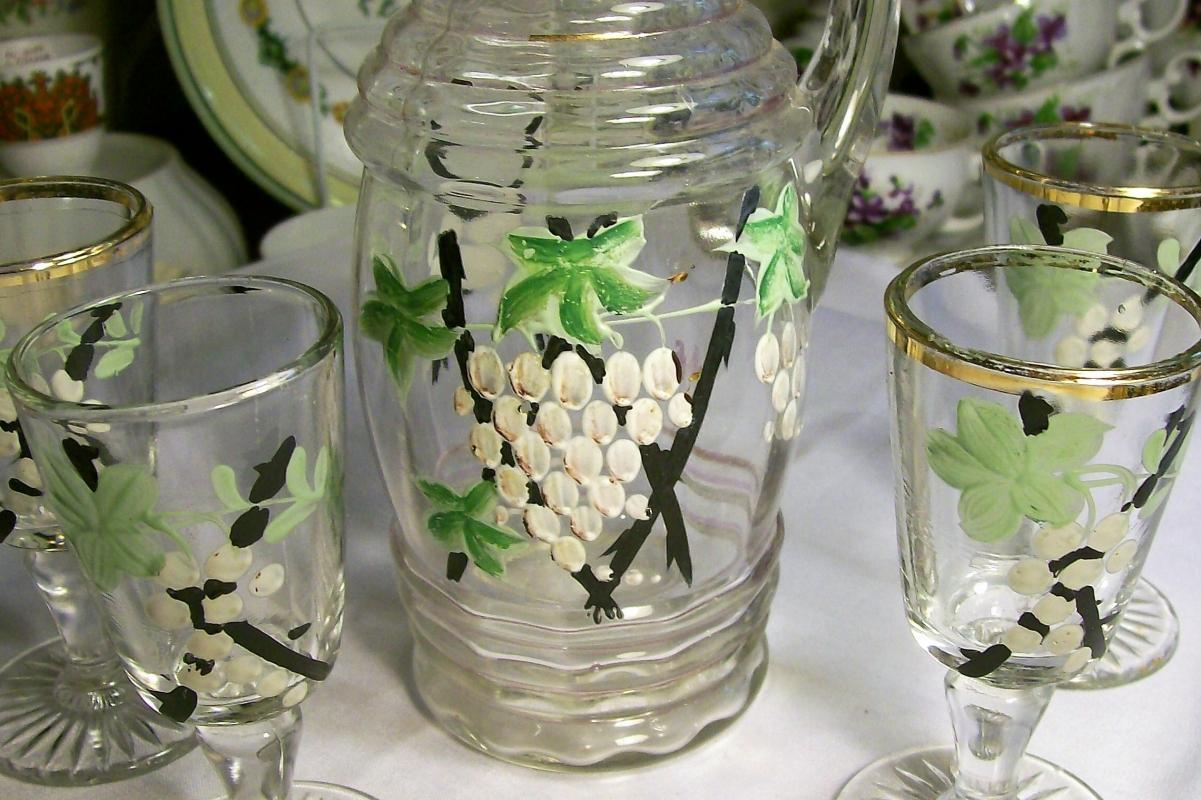 Antique Hand-Painted Grapes & Trellis Cordial Set Early 1900s Glass 5 Pc