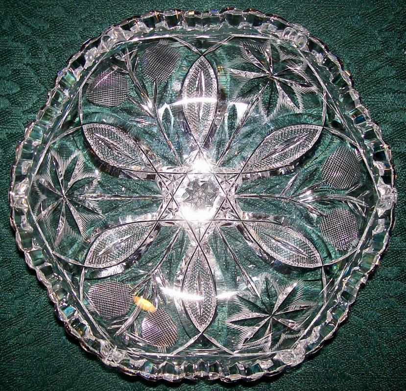 Antique Brilliant Cut Glass/Crystal Shallow Bowl 7