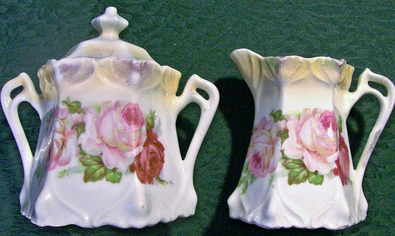 Antique German Art Nouveau Cream & Sugar Set Late 1800s Roses