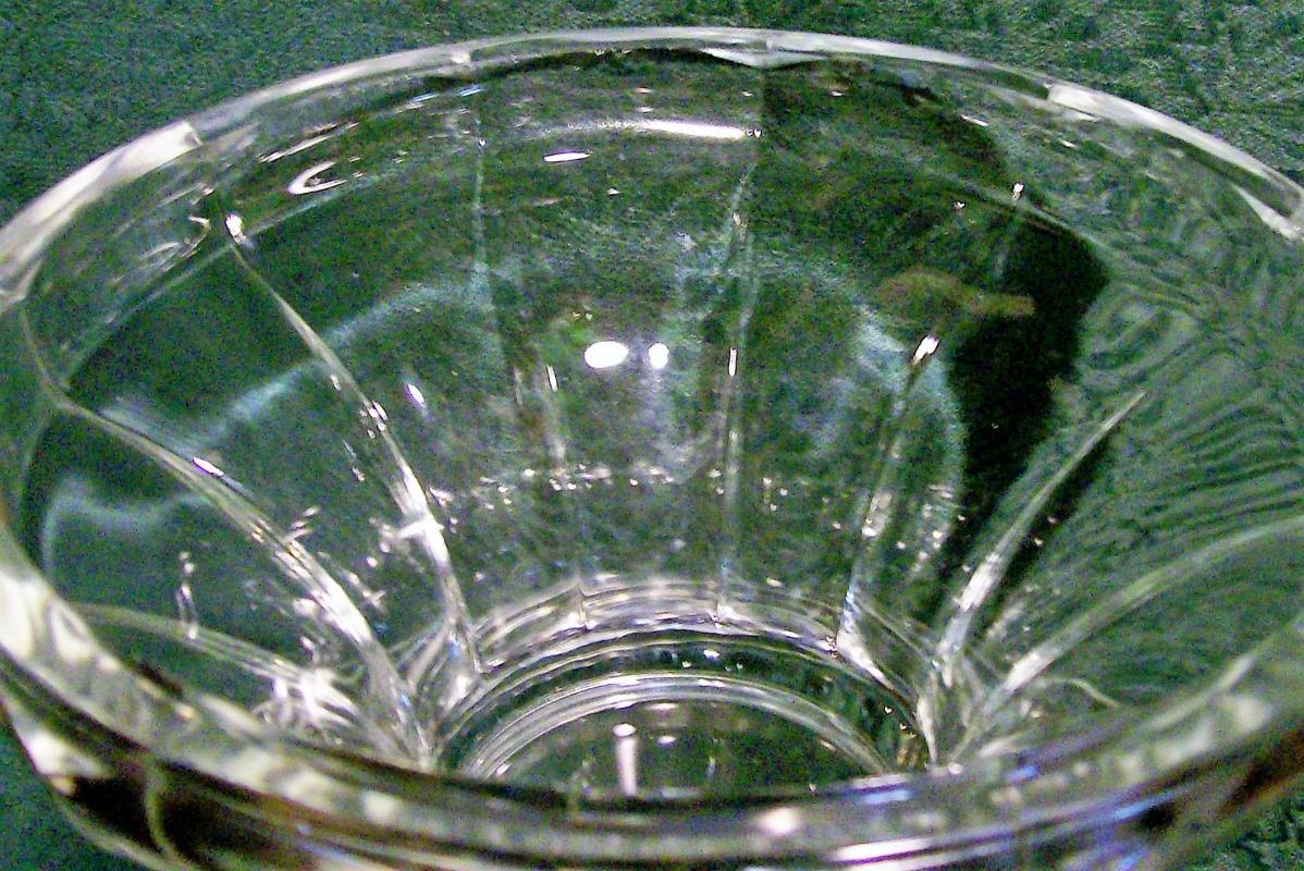Antique Colonial Flute Punch Bowl Base Clear Glass Ca. 1900