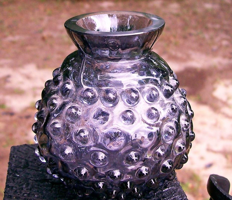 Antique Amethyst Glass Hobnail Vase Blown-in-Mold 3.25