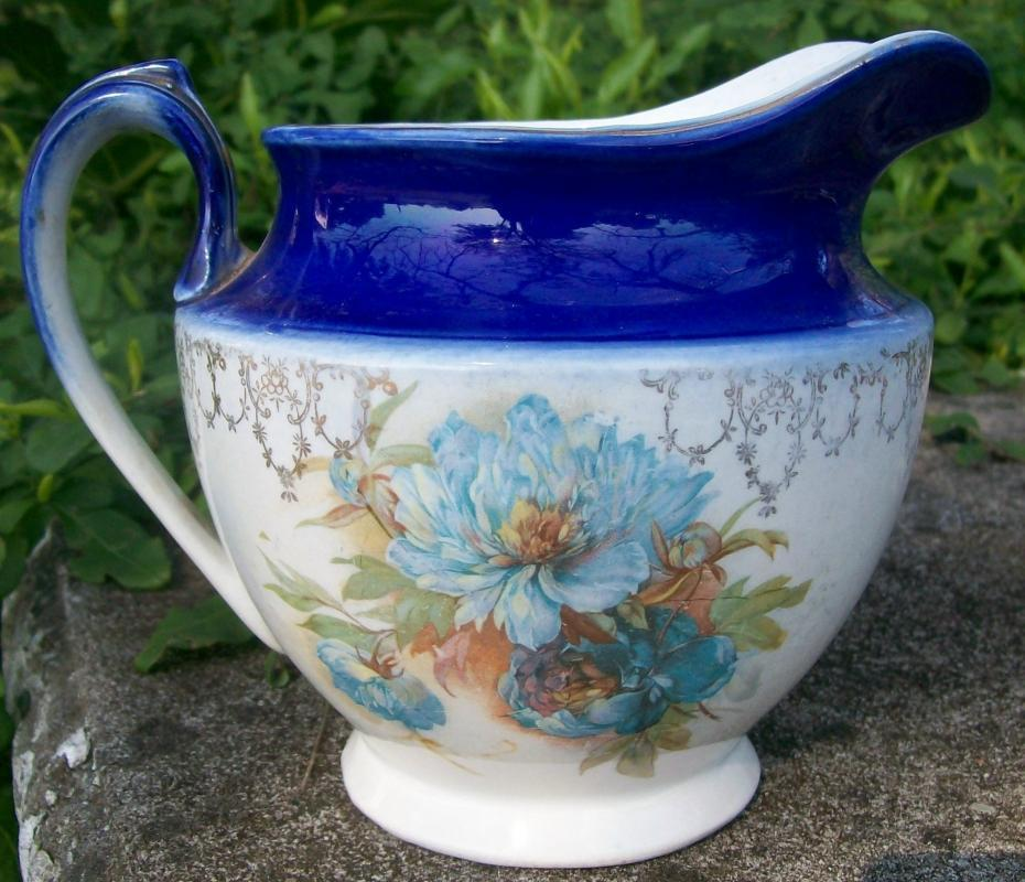 Antique Cobalt-trimmed Jug Floral Decal Early American Dinnerware 6