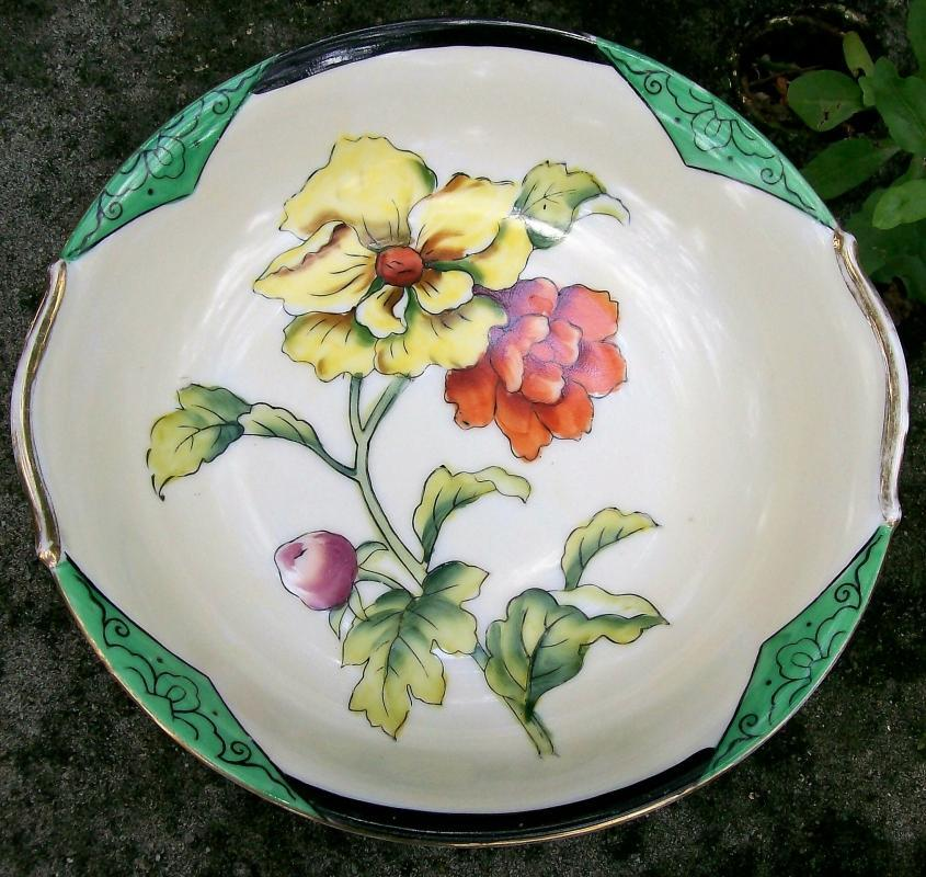 Antique Noritake Art Deco Poppy Bowl with Green Insets