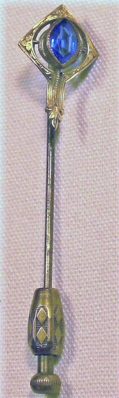 Antique Art Nouveau Stick Pin w/ Patterned Nib Blue