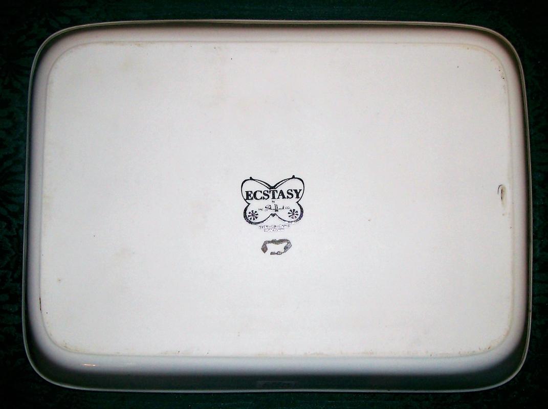 Vintage Shafford Ecstasy Rectangular Baker 1980's Butterflies