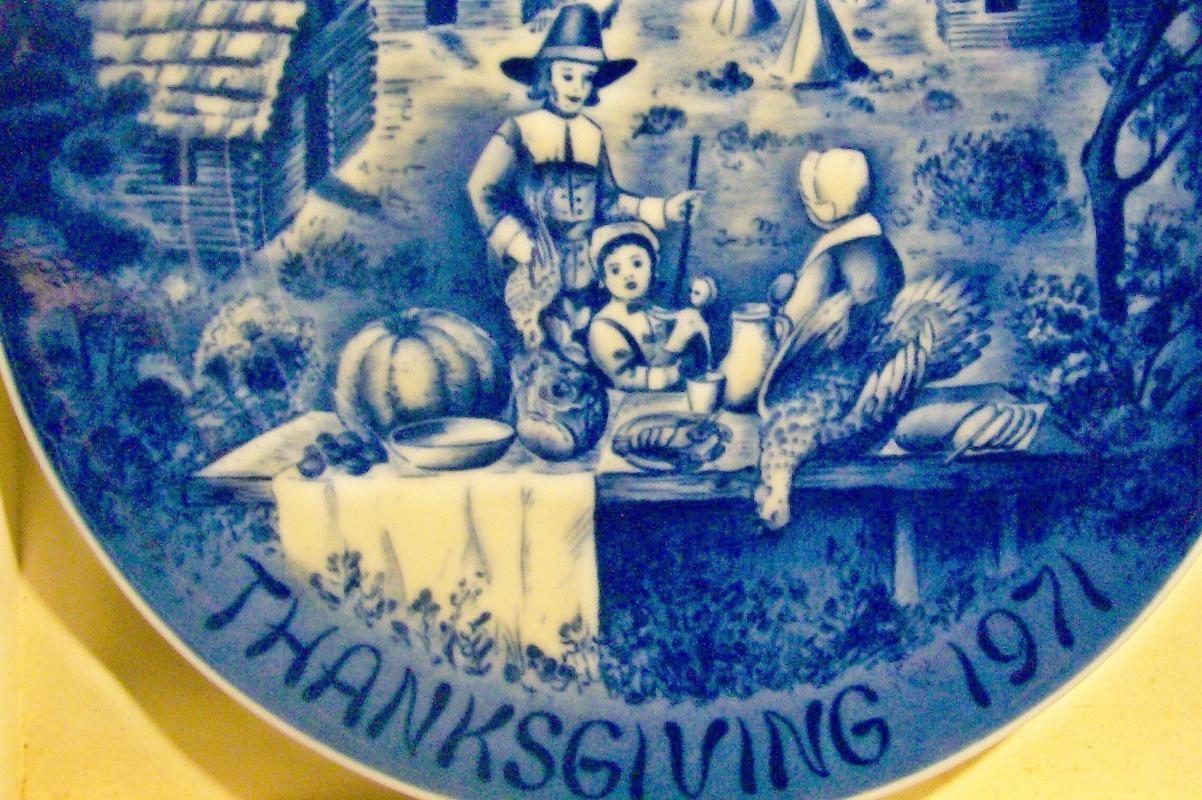Vintage Bareuther Thanksgiving 1971 Collectors Plate Ltd 1st Ed Blue w/Box/Paper