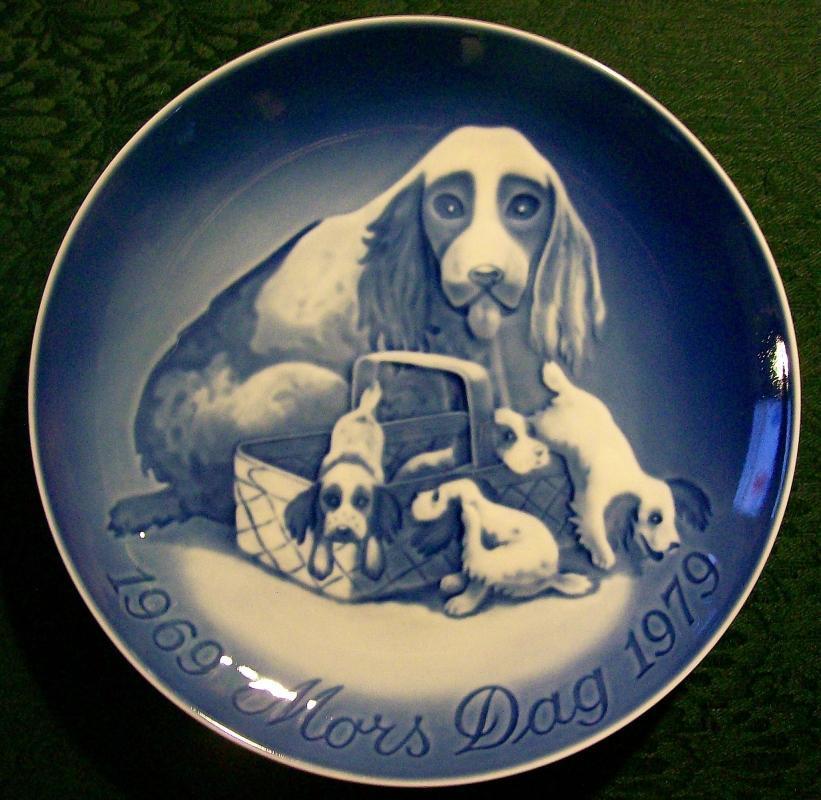 Bing & Grondahl Denmark Mars Dag/ Mother's Day Plate Cocker Spaniels 1969-79 #9879
