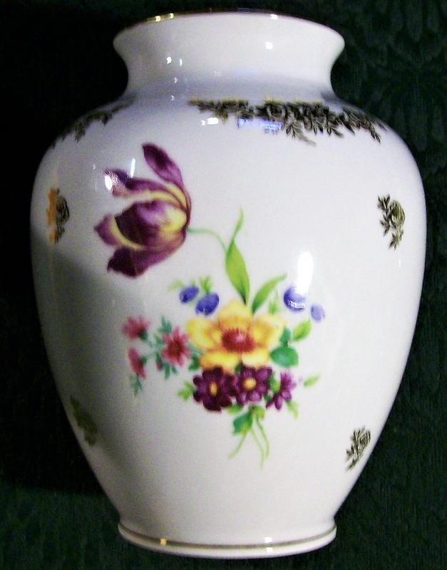 Vintage Plankenhammer Dresden-style Bavarian Vase Multicolor Flowers 5 7/8